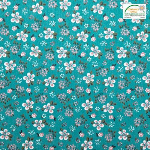 Coton vert lagon motif fleurs blanches et vieux rose
