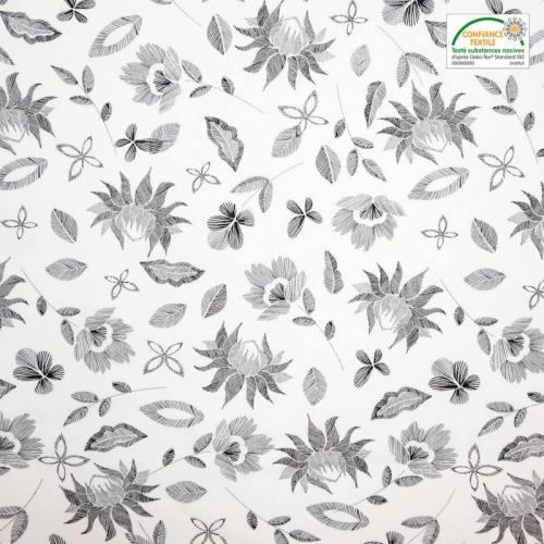 Coton blanc motif fleurs gravure noires
