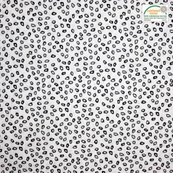 Coton blanc motif cercles d'encre irréguliers noirs