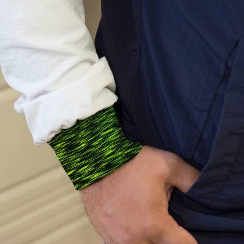 Tissu tubulaire bord-côte chiné noir et vert fluo