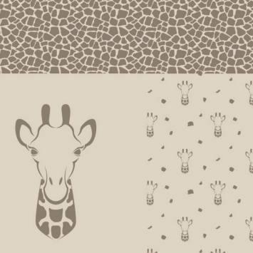 Coupon jacquard beige et taupe pour pull motif girafe