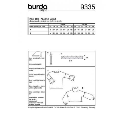 Patron Burda 9335 : Pull Taille 128-158 cm
