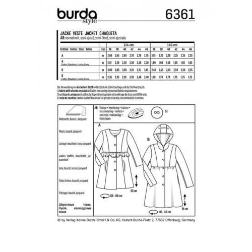 Patron Burda 6361 : Veste Taille 36-46