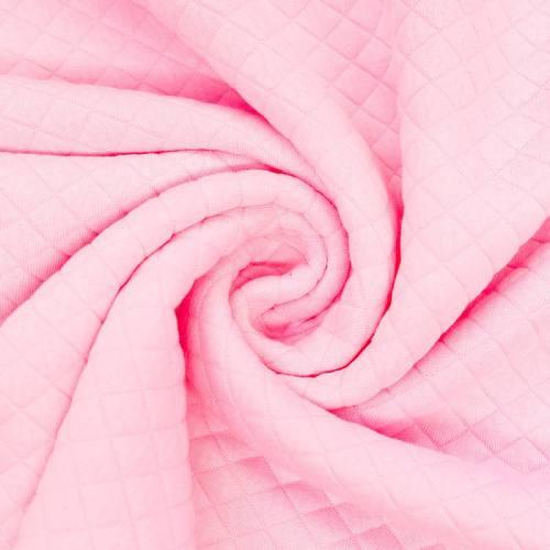 Jersey matelassé rose clair