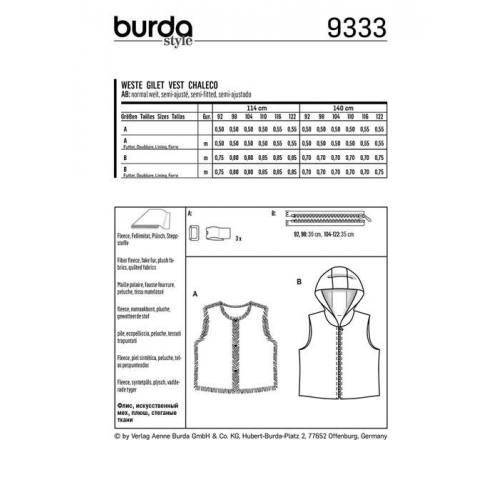 Patron Burda 9333 : Gilet Taille 92-122 cm