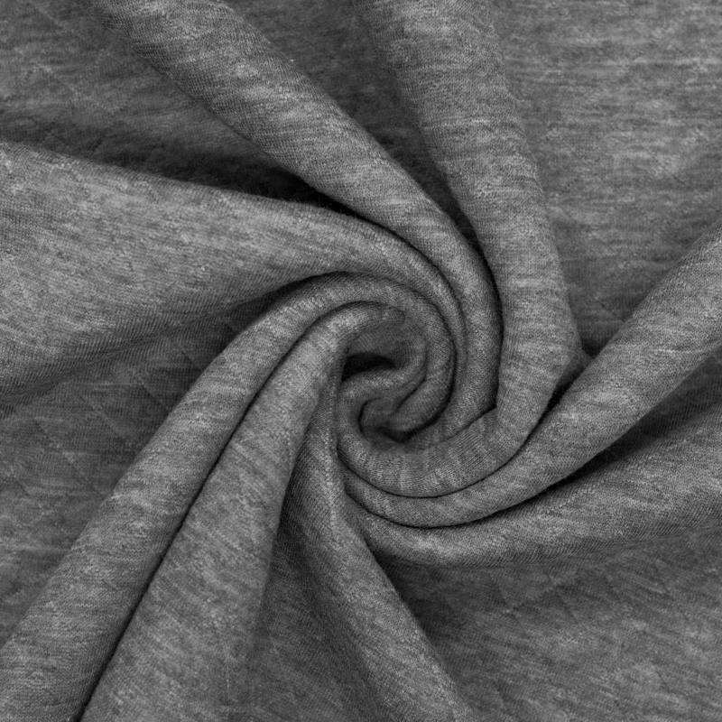 Tissu molleton matelassé gris foncé chiné