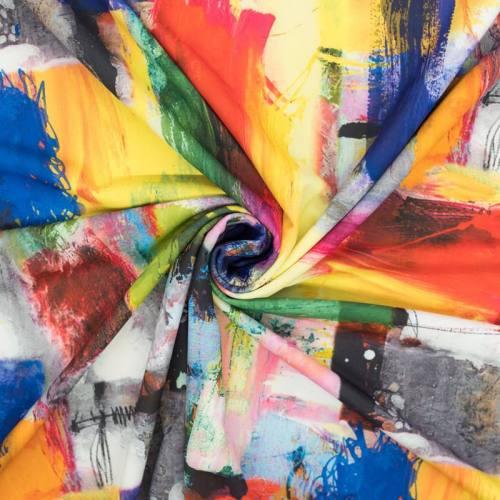Lycra extensible motif peinture abstraite multicolore