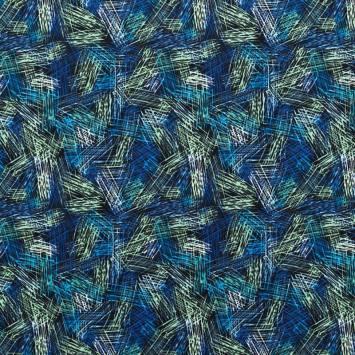 Lycra extensible motif ratures vertes et bleues