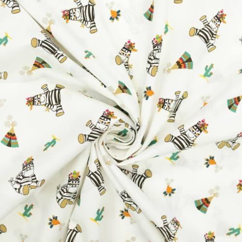 Popeline de coton écrue motif zèbre petit indien