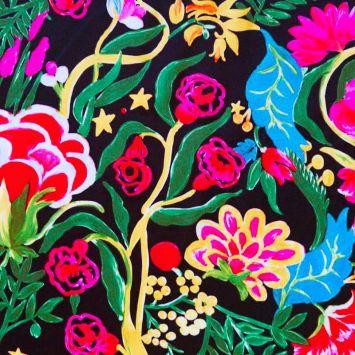 Satin duchesse noir motif fleurs peintes