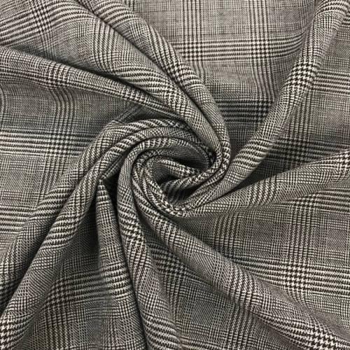 Tissu tartan grège carreaux noirs