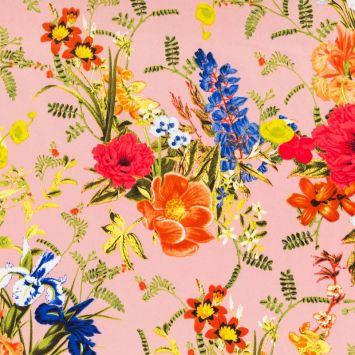 Satin duchesse rose motif fleurs printanières