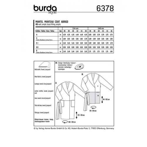Patron Burda 6378 : Manteau Taille 36-46