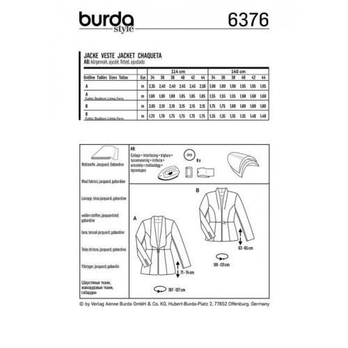 Patron Burda 6376 : Veste Taille 34-44
