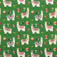Toile coton vert motif alpaga fleuri