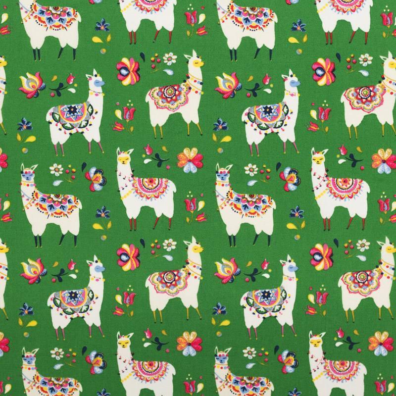 Coton vert motif lama fleuri