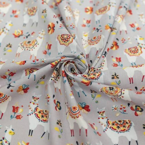 Coton gris de lin motif lama fleuri