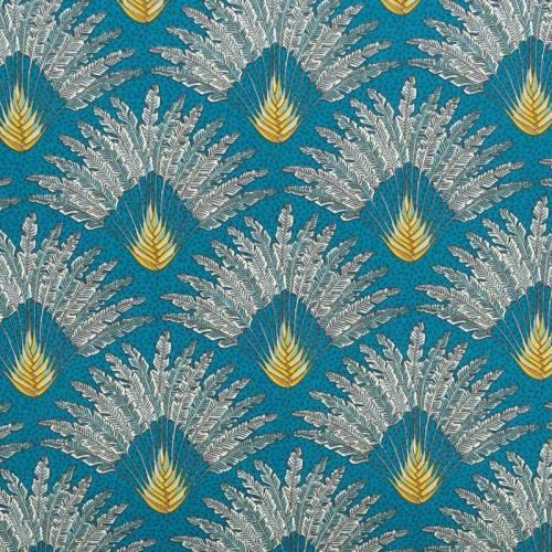 Coton bleu canard motif arbre du voyageur