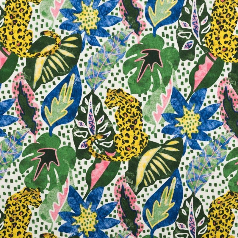 Coton motif léopard et jungle azur