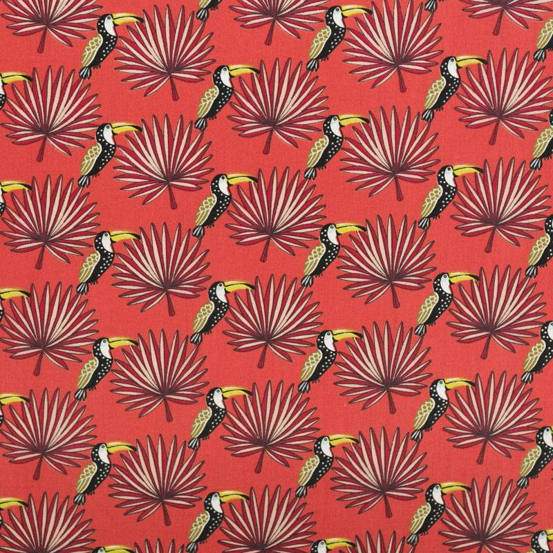 Coton orange sanguine motif toucan et feuille de palmier