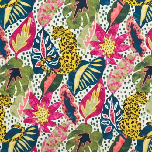 Coton motif léopard et jungle fuchsia