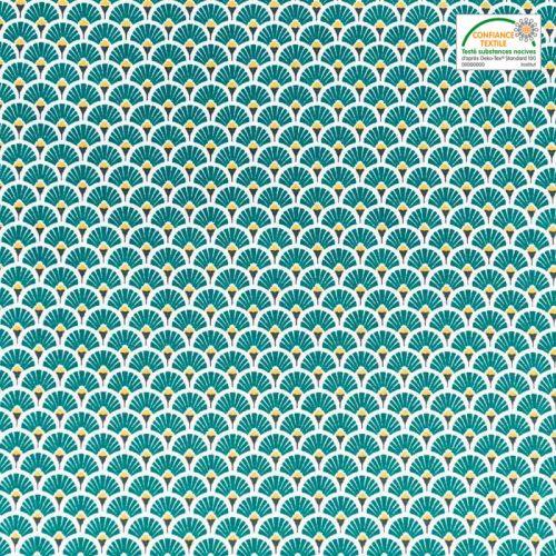 coupon - Coupon 80cm - Coton imprimé éventail émeraude et ocre