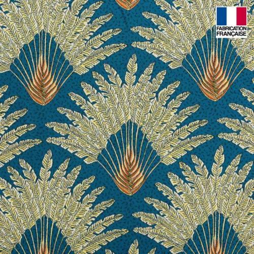 Jacquard bleu motif arbre du voyageur jaune