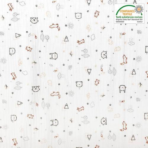 Double gaze blanche motif forêt et animaux zami marron