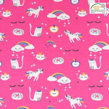 Jersey rose motif nuage, chat et licorne