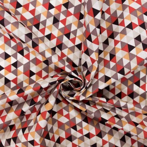 Coton trimix rouge brique et taupe