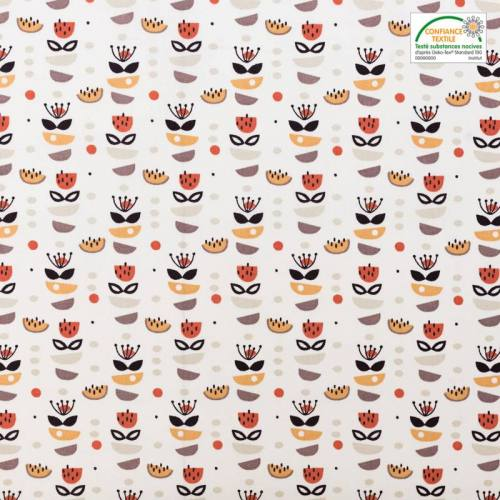 Coton blanc et rouge brique motif anisa