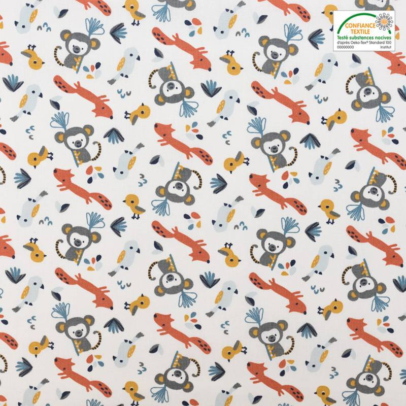 Coton blanc motif animaux de la jungle safiko bleu givre