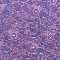 Coton violet motif japonais bleu