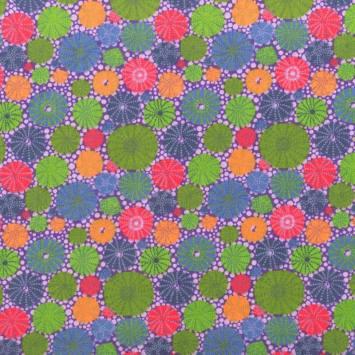 Coton violet motif squelette d'oursin vert