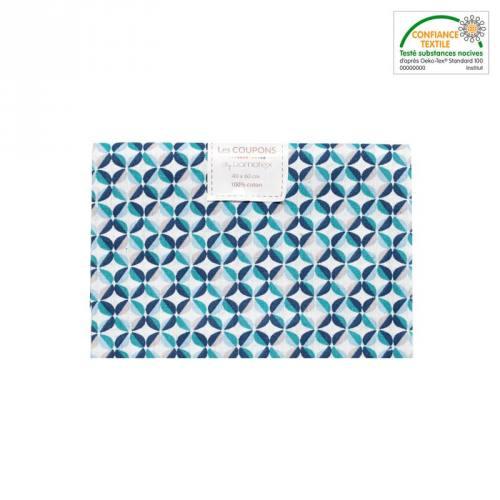 Coupon 40x60 cm coton blanc motif zeleo vert et gris