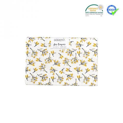 Coupon 40x60 cm coton blanc feuille hosta ocre