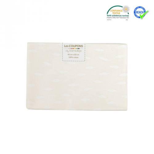 Coupon 40x60 cm coton blanc motif plume kioni blanche