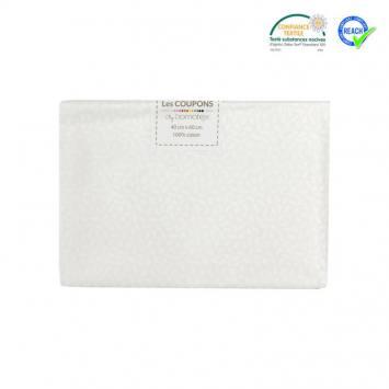 Coupon 40x60 cm coton blanc motif grain de riz stigmat