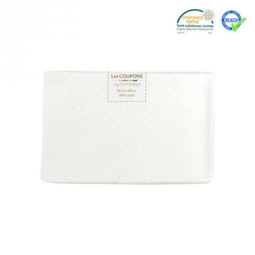 Coupon 40x60 cm coton blanc motif pois pisani
