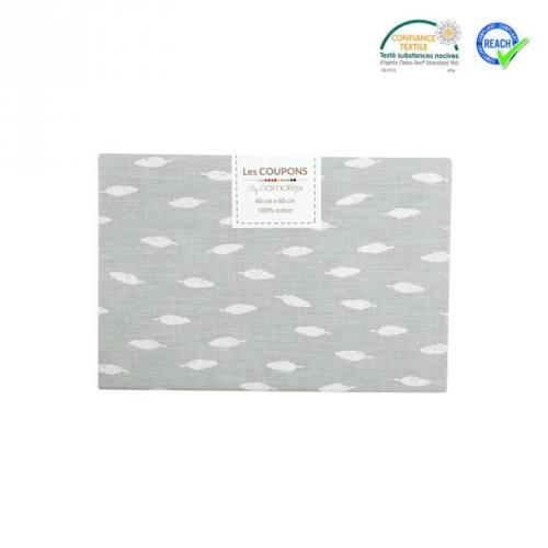 Coupon 40x60 cm coton gris motif plume kioni