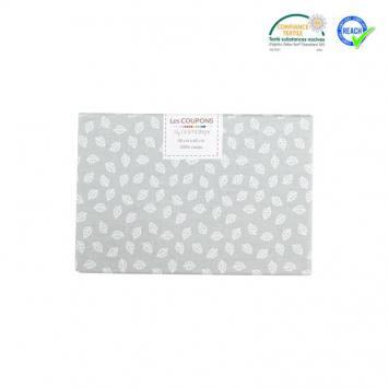 Coupon 40x60 cm coton gris motif petite feuille telma