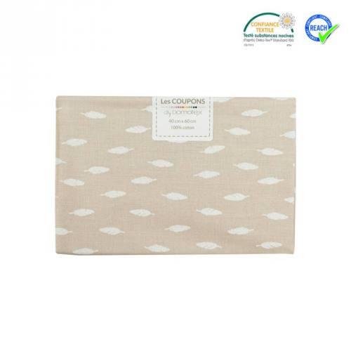 Coupon 40x60 cm coton beige motif plume kioni