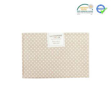 Coupon 40x60 cm coton beige motif pois pisani