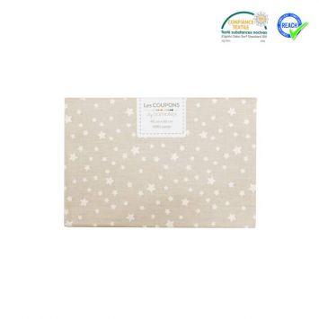 Coupon 40x60 cm coton beige motif étoile dousnui