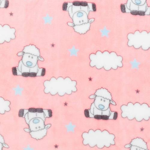Polaire rose motif mouton et nuage