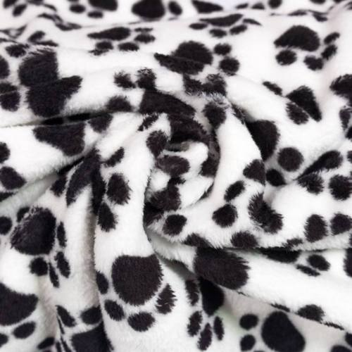 Tissu polaire blanc motif patte de chien noire