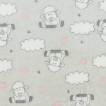 Polaire gris clair motif mouton et nuage