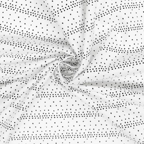 Coton blanc motif pois noirs irréguliers