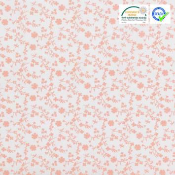 Coton fleurs margneg rose saumon