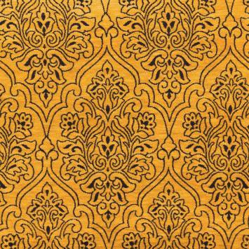 Jacquard velours ras motif arabesque jaune et marron